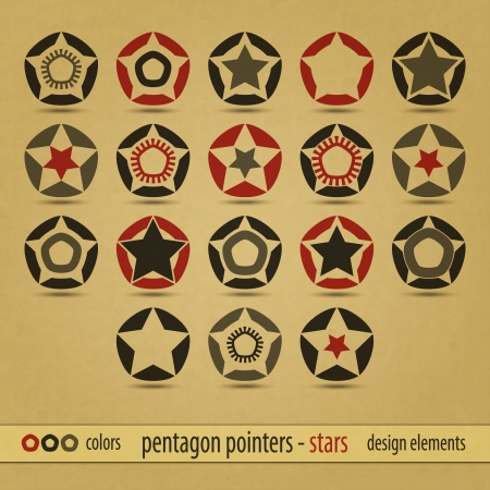 new set of military style icons on carton background can use like modern design labels Vector