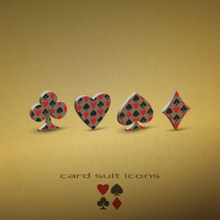 new set of card suit icons on textured background can use like casino design elements Illustration