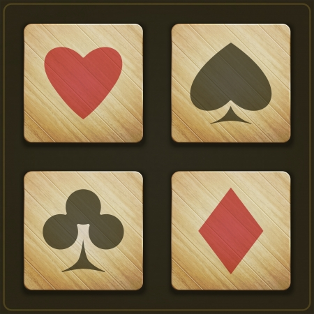 new set of wooden buttons with cards suits symbols Illusztráció