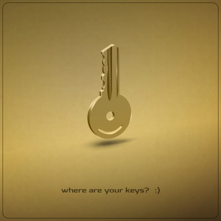 new golden key realistic icon  Vector