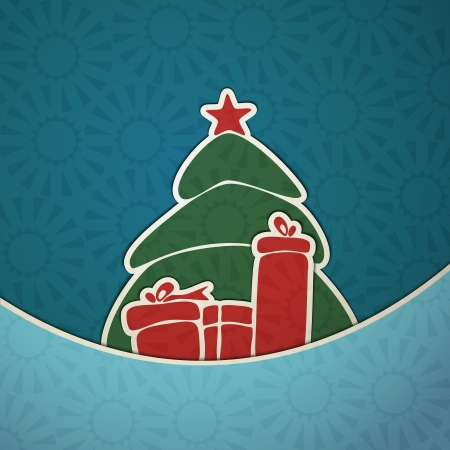 merry christmas paper green tree with red gift  Vector