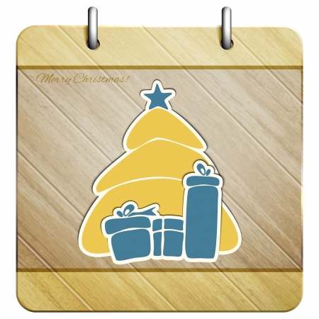 new wooden icon with Christmas stickers can use like holiday design elements Vector