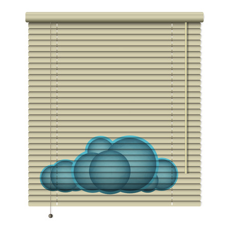 window coverings: new realistic louvers icon with printed cloud symbol can use like conceptual design Illustration