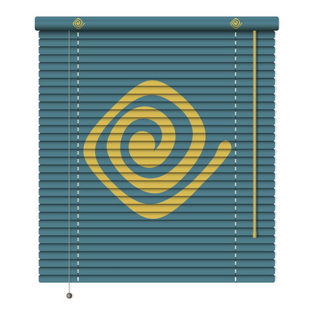 window coverings: new realistic jalousie with tribal ornament element can use like advertising icon  Illustration