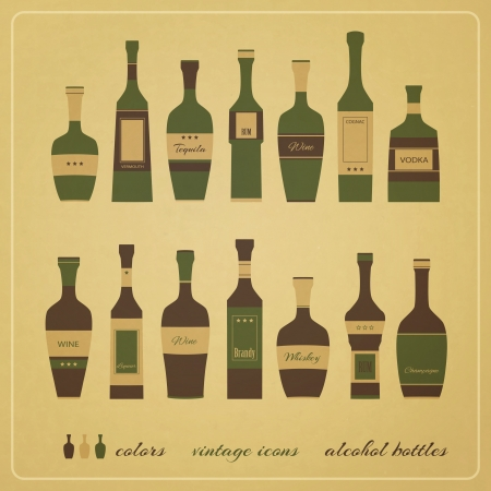 new set of vintage style icons of alcohol bottles can use like menu design elements Vector