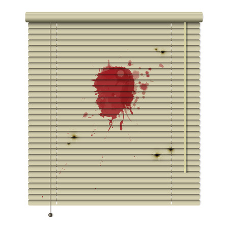 blood stains: new isolated jalousie icon with blood stains and bullet hole