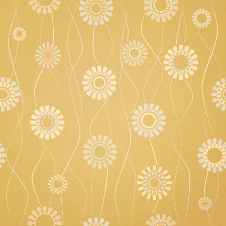seamless pattern with abstract flowers on paper background  Vector