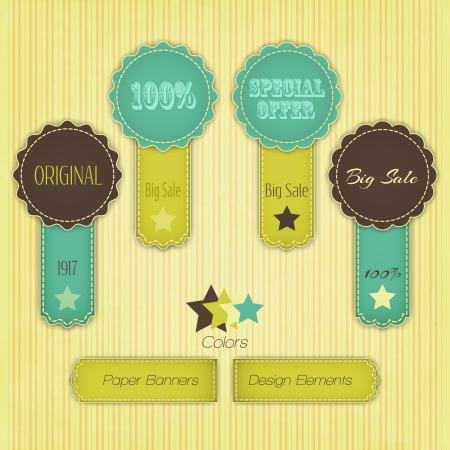 new set of commercial labels on paper background can use like vintage design elements  Vector