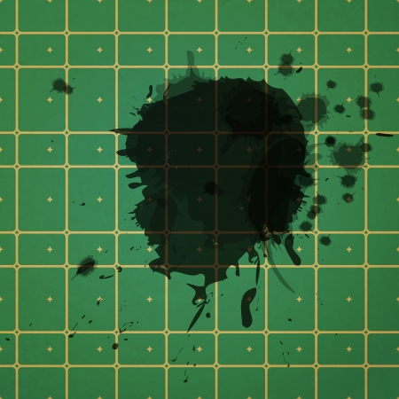green wallpaper: new ink stains on green wallpaper can use like conceptual textured background  Illustration