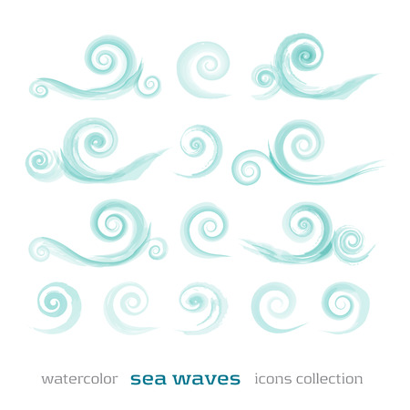 new set of sea waves symbols isolated on white background can use like watercolor icons Illustration