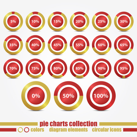 new collection of circular icons with percentage pie charts can use like web design elements Illustration