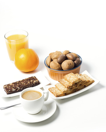breakfast composition on white background