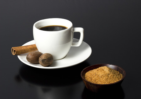 classic coffee cup with sugar and nuts