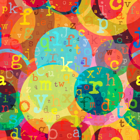 textured paper: seamless pattern with colorful letters and circles on textured paper