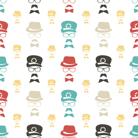 seamless pattern with colorful man face symbol Vector