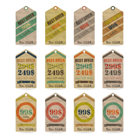 vintage paper price labels with special offer icons set Vector