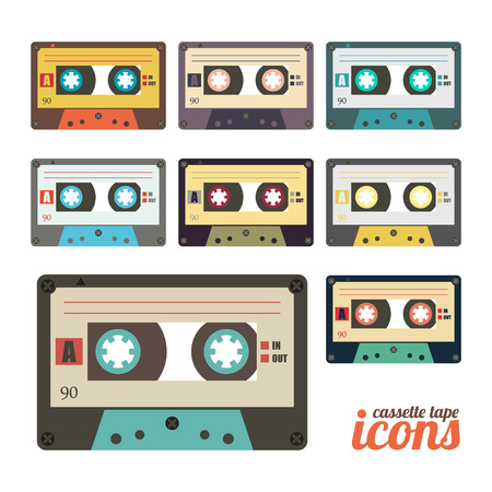 set of retro cassette tape icons  Vector