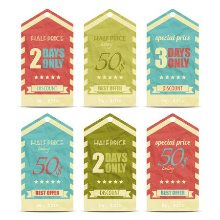new collection of trendy paper price tags  Ilustração