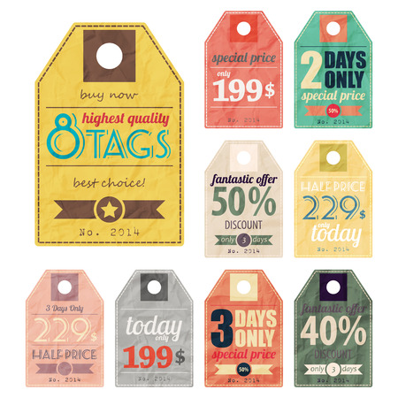 new set of colorful retro style paper labels Vector