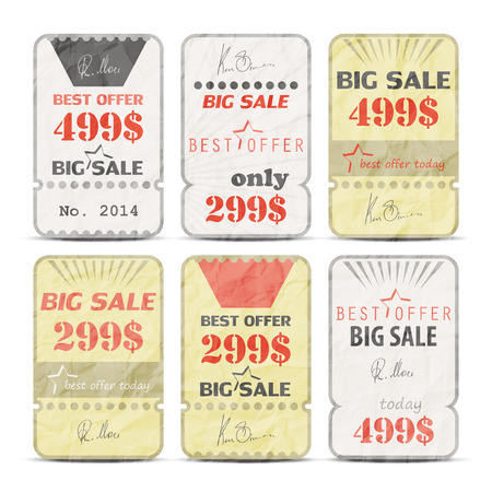 set of retro style pricing paper tags with hand signature Stock Vector - 27709097