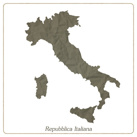 Italian map outline isolated on gray textured paper Vector