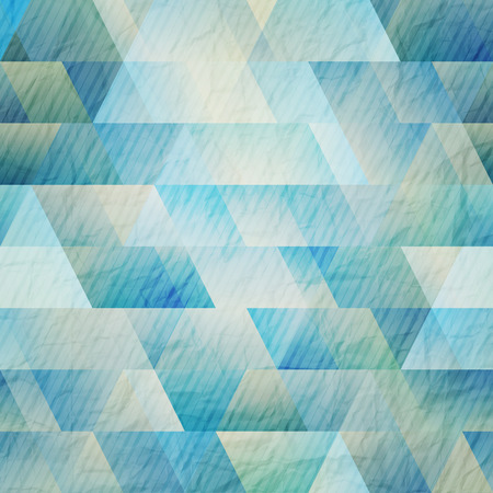 abstract blue background with triangles and stripes on paper texture Vector