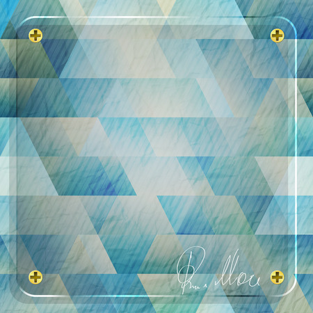 glass frame over blue paper background with personal signature Illustration