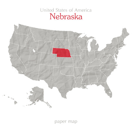 United States Of America Map And Nebraska Territory On Paper - Nebraska on the us map