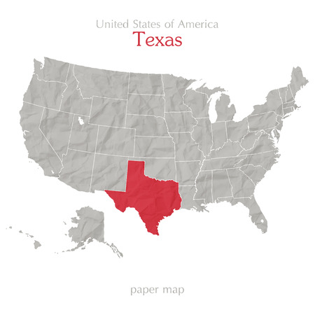 United States of America map and Texas territory on paper background