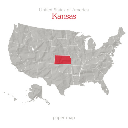 textured paper: United States of America map and Kansas territory on textured paper