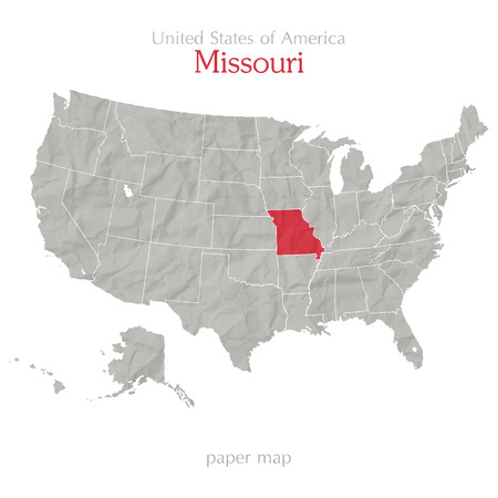 United States Of America Map And Missouri Territory On Paper - Map of us missouri