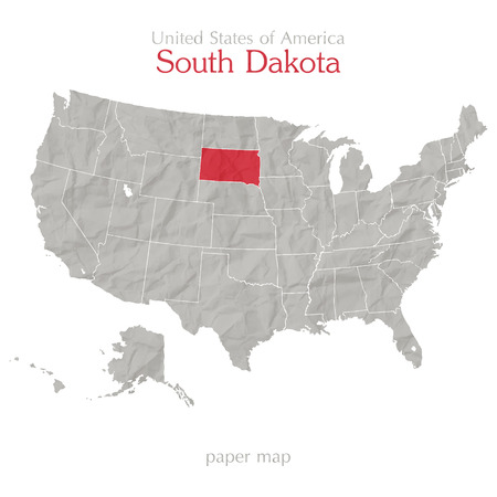 United States of America map and South Dakota territory on paper texture Vector