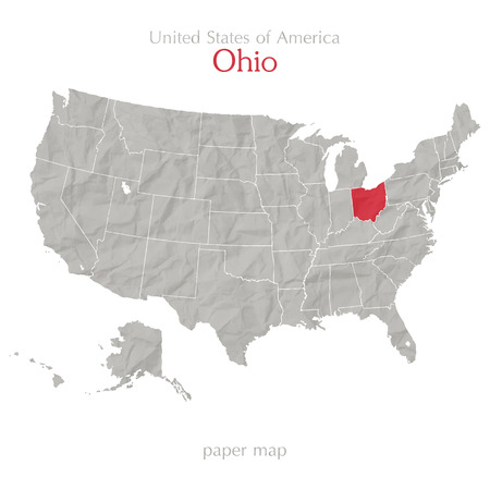 textured paper: United States of America map and Ohio state territory on textured paper Illustration