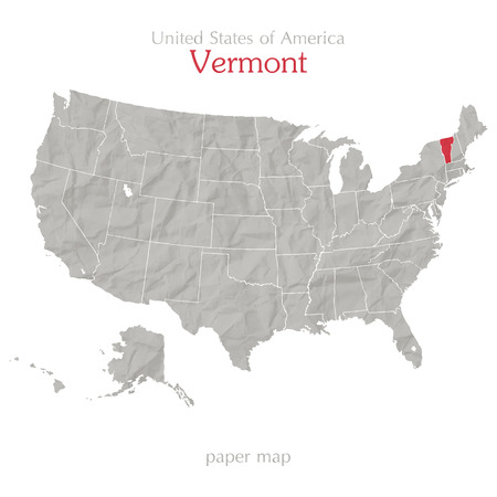 textured paper: United States of America map and Vermont state territory on textured paper Illustration