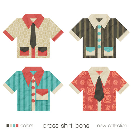 dress shirt: new set of dress shirt icons with ties and pockets