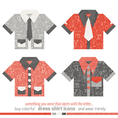 dress shirt: new collection of dress shirt icons with letters symbol ornament
