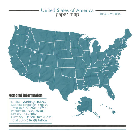 United States of America map icon with general information  Vector