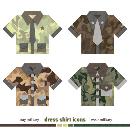 new set of military dress shirt icons with modern camouflage design  Vector