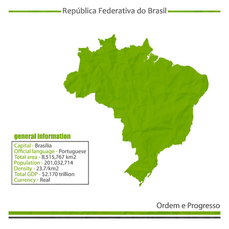 isolated Brazil map and general information Vector