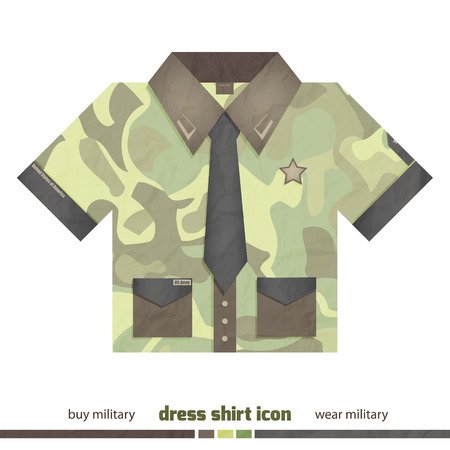 dress shirt: new military dress shirt icon with pockets, tie and army symbols isolated on white background