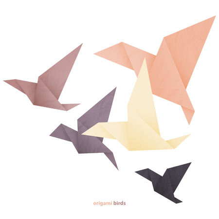freedom concept image with five origami birds isolated on white background Ilustracja