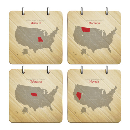 United States of America map on wooden badges Vector