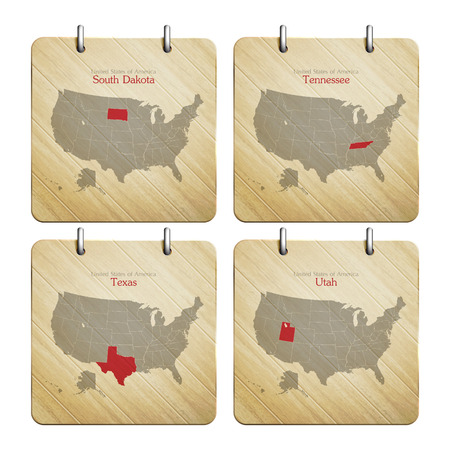 United States of America map on wooden icons Vector
