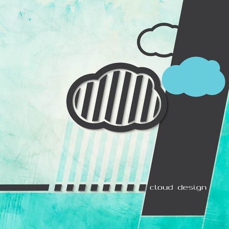 abstract paper clouds over textured background Vector