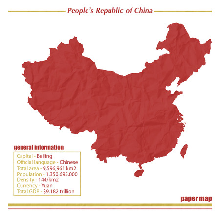 map of china: China paper map with general information isolated on white background