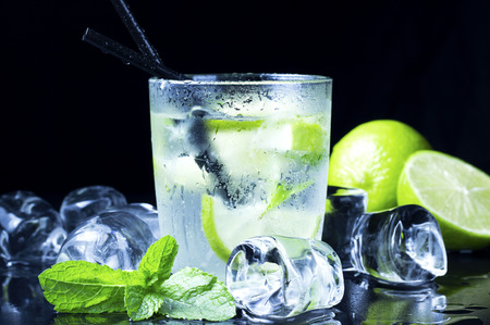 cool Mojito cocktail with fresh limes, mint and ice photo
