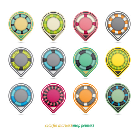 set of colorful map pointers isolated on white background  vector icons Vector
