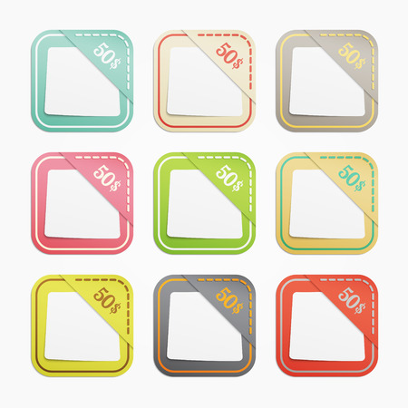 set of colorful discount pockets with blank stickers