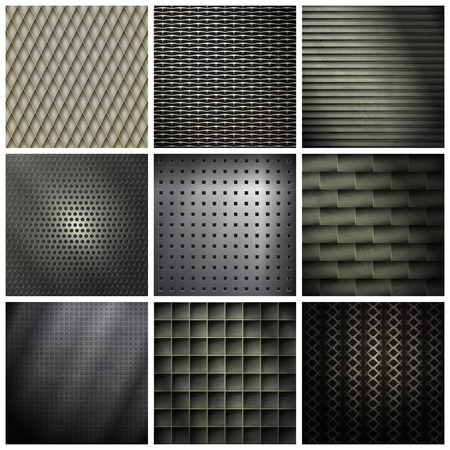 aperture grid: set of metallic, industrial backgrounds. vector texture