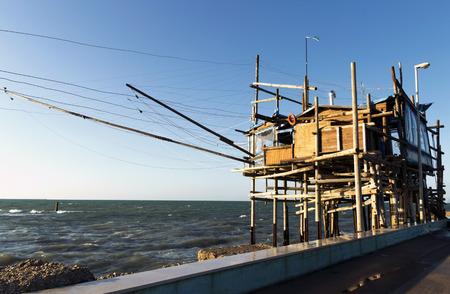 overrun: typical Italian Trabucco. Adriatic sea fishing construction